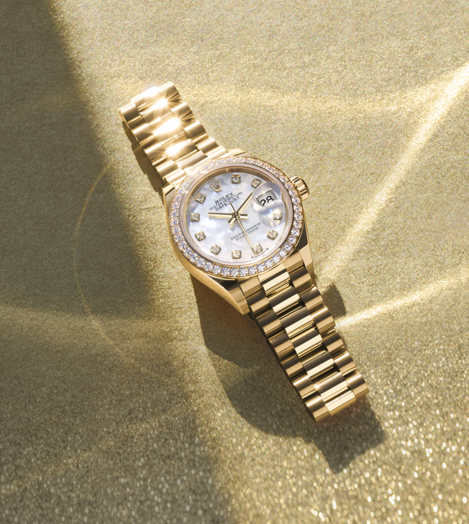 Lady-Datejust Oyster, 28 mm, Gelbgold mit Diamanten